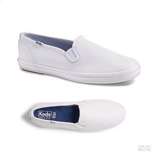 Keds Champion solid white leather slip on shoes